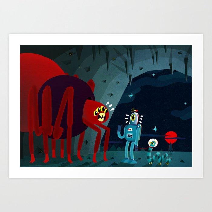 Space Spider Gets Surprise Visitors Art Print