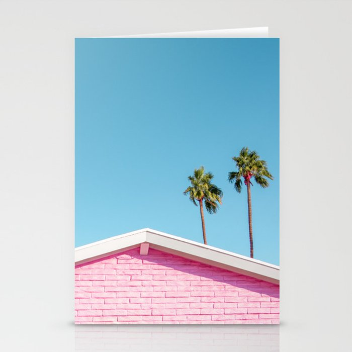 Pink House Roofline with Palm Trees (Palm Springs) Stationery Cards