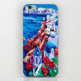 Santorini churches iPhone Skin