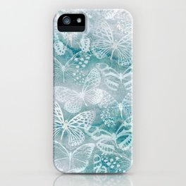 Sea green marble butterflies iPhone Case