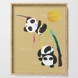Pandas meet a strange rainbow Serving Tray