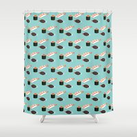sushi Shower Curtains featuring Sushi by Bronte Poynts
