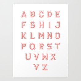 Chiseled pink alphabet typeface Art Print