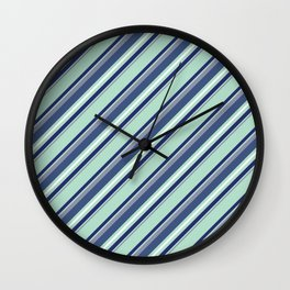 Fun Diagonal Stripes Blue Wall Clock