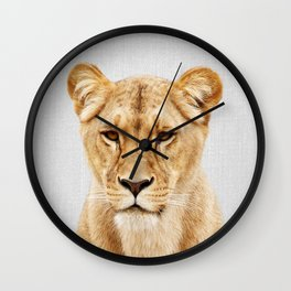 Lioness - Colorful Wall Clock