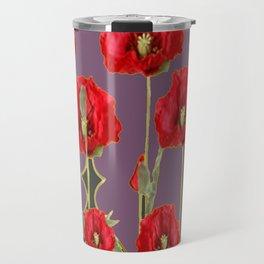 ART NOUVEAU RED POPPIES PUCE ART Travel Mug