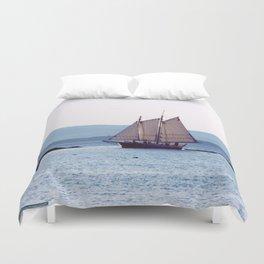 Schooner Sailing into Apple Tree Harbor, Maine Duvet Cover