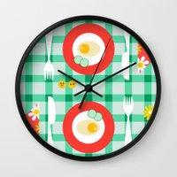 breakfast Wall Clocks featuring breakfast by vitamin
