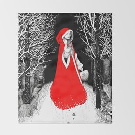 Red Riding Hood and the Wolf Throw Blanket