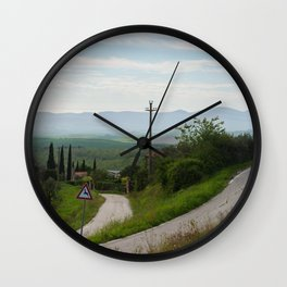Winding roads in green hills Tuscany, Italy Wall Clock