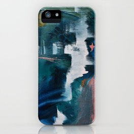 Exhilarated: a vibrant, abstract, mixed-media piece in greens and pinks by Alyssa Hamilton Art  iPhone Case