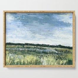 Pallet Knife Painting of the Baker Wetlands with greens and blues. Serving Tray