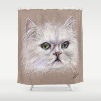 persian Shower Curtains featuring Persian cat by Pendientera