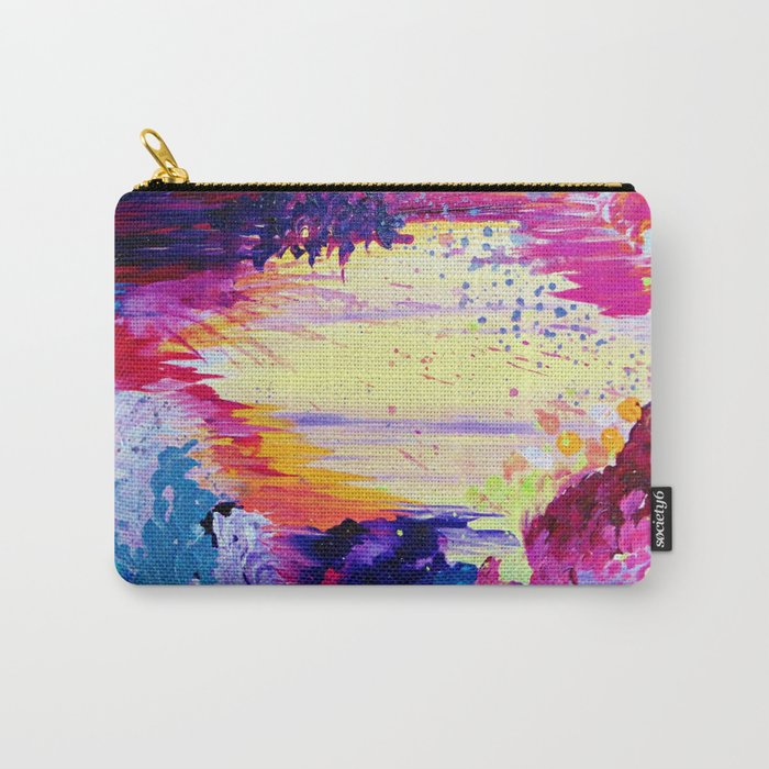 IN TIMES OF CHAOS - Intense Nature Abstract Acrylic Painting Wild Rainbow Volcano Waves Fine Art  Carry-All Pouch