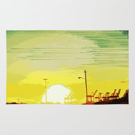 Sunset Over The Shipyard Pixelart Rug