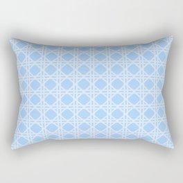 Cane Rattan Lattice in Blue Rectangular Pillow