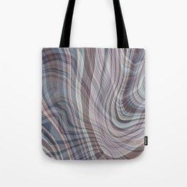 DOBBIN wavy lines plaid pattern in pale plum blue brown home decor Tote Bag