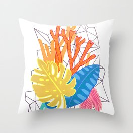 Leaves and corals Throw Pillow