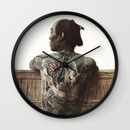 photography of tattooed Japanese man with tattoo (1870s -1890s) by Kusakabe Kimbei Wall Clock