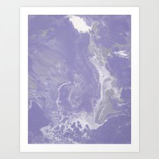 Purple, Silver, and White Fluid Acrylic Abstract Painting 2 Art Print