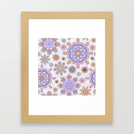 Floral pattern with stylized snowflakes. Christmas winter snow theme pattern. Framed Art Print