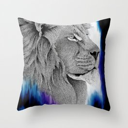 Lion - Electric stippling ink and oil painting Throw Pillow