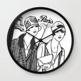 Flapper Girls in Paris Wall Clock