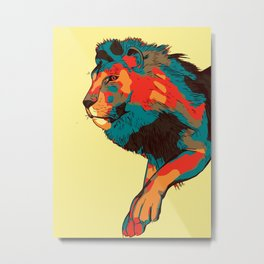 Jumping Lion Abstract Metal Print