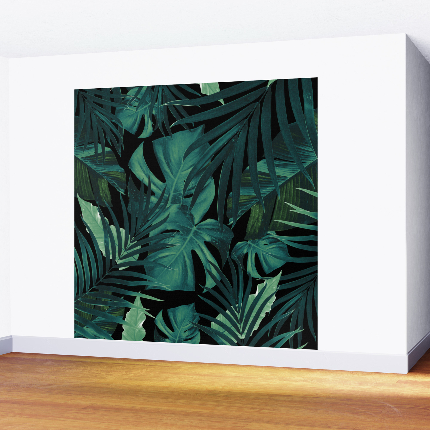 Tropical jungle night leaves pattern 1 tropical decor art society6 wall mural