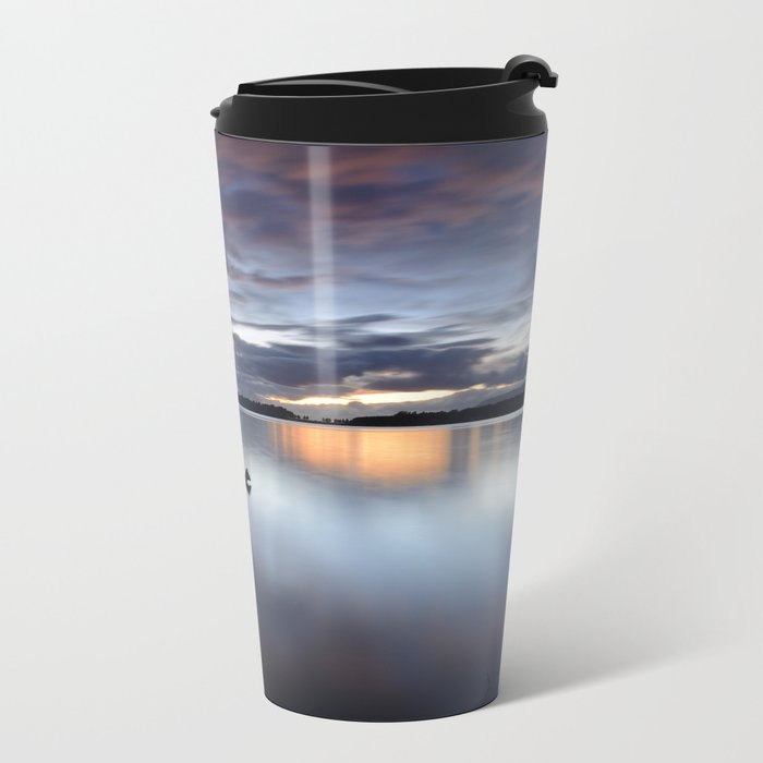 Purple. Sunset at the lake after the storm Metal Travel Mug