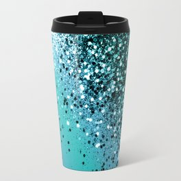 Aqua Blue OCEAN Glitter #1 #shiny #decor #art #society6 Travel Mug