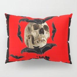 BAT INFESTED HAUNTED SKULL ON BLEEDING RED ON RED  ART Pillow Sham