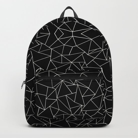 Abstract Collide Outline White on Black Backpack
