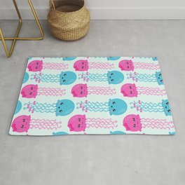 Pattern Of Jellyfishes, Sea Life - Pink Blue Rug