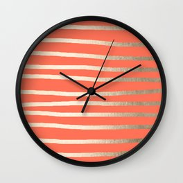 Simply Drawn Stripes in White Gold Sands on Deep Coral Wall Clock