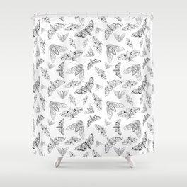 Geometric Moths Shower Curtain