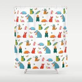 Scandinavian woodland animals pattern print Shower Curtain