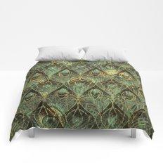 Art Deco Peacock Feathers In Emerald Comforters