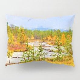 Finland landscape watercolor painting Pillow Sham