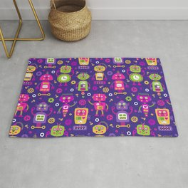 Pink Purple Girl Robot Pattern Rug
