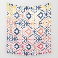 ikat Wall Tapestries featuring Tropical Ikat Damask by micklyn