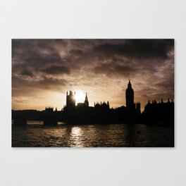 View over Westminster, Big Ben, London at Sunset Canvas Print