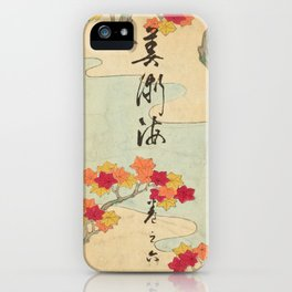 Vintage Japanese Maple Leaf and River Print iPhone Case
