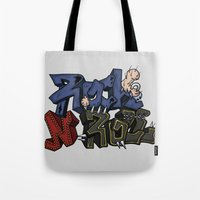 rock n roll Tote Bags featuring Rock N Roll by Lovi