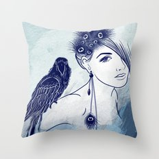 Parrot Girl Throw Pillow
