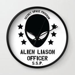 Top Secret Space Program Alien Liaison Officer cute funny tshirt gifts Wall Clock
