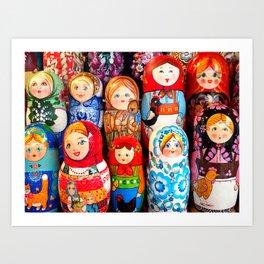 Culture. Group of matrioska, or babushka, symbol of maternity from Russia. Art Print