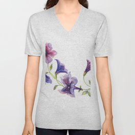 Watercolor branch of petunia. Unisex V-Neck