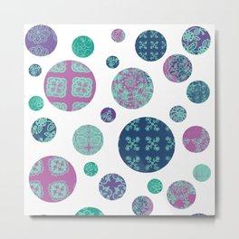 Circles in Purple and Teal Metal Print