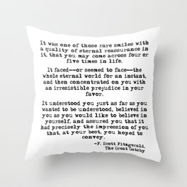 It was one of those rare smiles - F. Scott Fitzgerald Throw Pillow